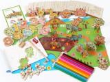 Bộ khuôn vẽ tranh và tô màu nông trại bằng gỗ cho bé thỏa thích sáng tạo MH009